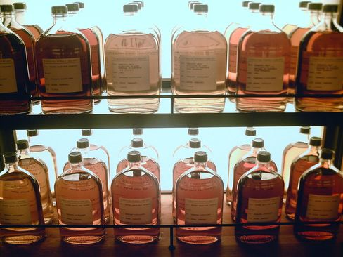 Malted whiskies from the Yamazaki distillery library.