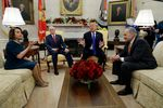 President Donald Trump and Vice President Mike Pence meet with Senate Minority Leader Chuck Schumer, D-N.Y., and House Minority Leader Nancy Pelosi, D-Calif.
