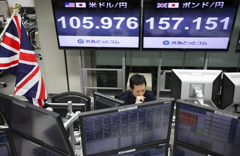 An employee works at a foreign exchange brokerage in Tokyo on June 24.